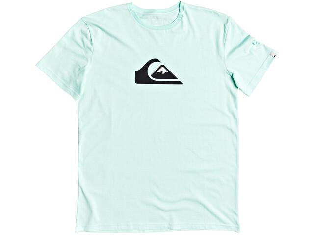 Quiksilver Comp Logo Camiseta Manga Corta Hombre, beach glass